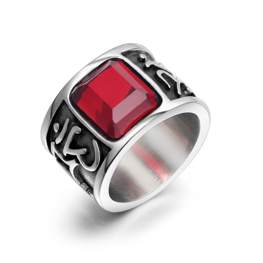 Ruby titanium steel ring for men