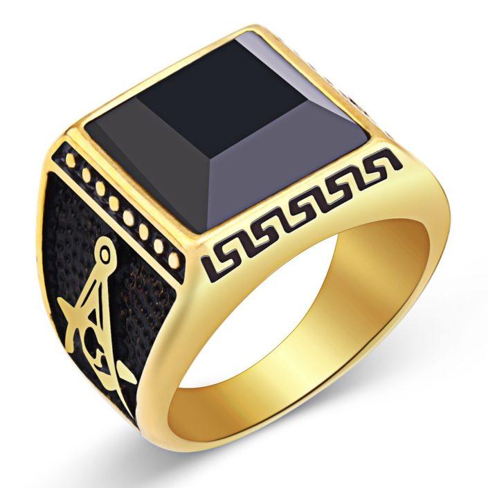 Gold titanium steel ring for men